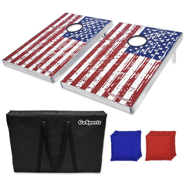 GoSports American Flag Cornhole Bean Bag Toss Game Set