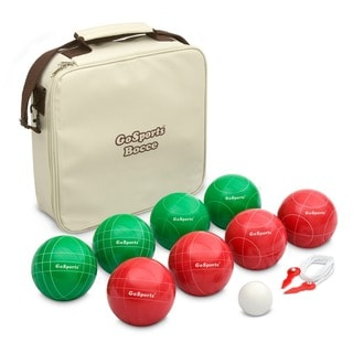GoSports Premium 100mm Official Regulation Size Bocce Set with 8 Balls, Pallino, Case, and Measuring Rope