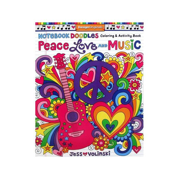 Design Originals ND Peace Love and Music Coloring Book