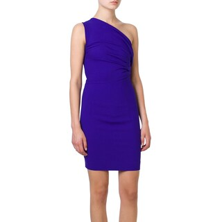 Dsquared2 Purple Stretch Wool Mini Dress