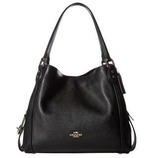 Coach E 31 Pebbled Leather Light Gold Black Shoulder Bag