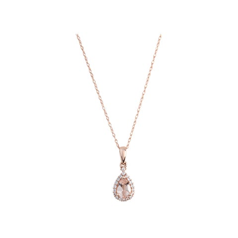 10k Rose Gold Morganite and Created White Sapphire Pear Halo Pendant Necklace