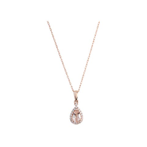 Pinctore 10k Rose Gold Morganite and Created White Sapphire Pear Halo Pendant Necklace