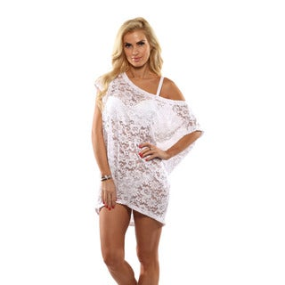 Lisa Blue White Lace Cover-up