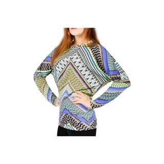 Bluberry Women's Multicolored Rayon-blend Chevron Bat Sleeve Top