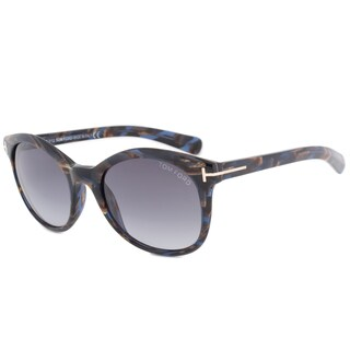Tom Ford Riley FT0298 Unisex Blue and Brown Havana Frame Blue Gradient Lens sunglasses