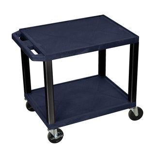 Offex Multipurpose 26-inch Navy Two-shelf A/V Utility Cart with Black Legs