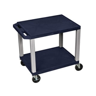 Offex Navy Blue Plastic Two Shelf A/V Cart