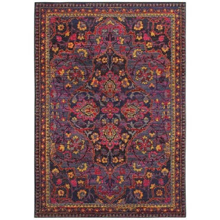 "Magenta Nights Navy/Pink Polypropylen Area Rug (9'9 x 12'2) - 9'9"" x 12'2"""