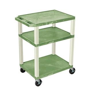 Offex 34-inch Tuffy Three-shelf Audio/ Video Cart with Green Putty Legs