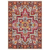 The Curated Nomad Martin Tribal Medallion Red/Pink Area Rug - 9' 9' x 12' 2'