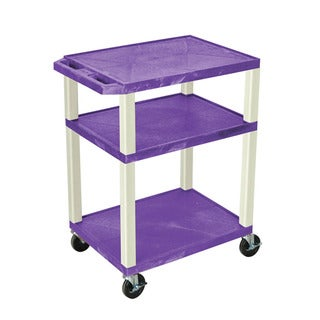 Offex OF-WT34PE Purple with Putty Legs 34-inch 3-shelf A/V Cart