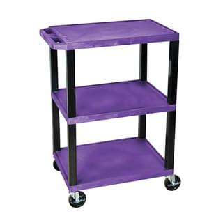 Offex Tuffy Purple Plastic 3-shelf Utility Cart
