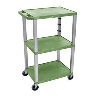 Offex Green/Nickel Plastic 42-inch 3-shelf Electric A/V Cart