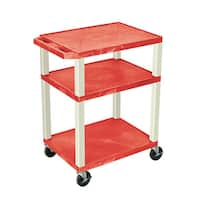 Offex OF-WT34RE Red with Putty Legs 34-inch 3-shelf A/V Cart