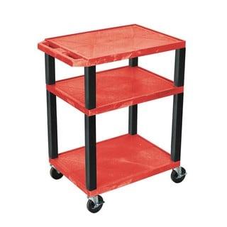 Offex Red Plastic 3-shelf Rolling AV Cart