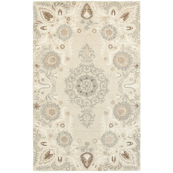 Copper Grove Globeflower Floral Medallions Sand/ Ash Handcrafted Undyed Wool Area Rug - 10' x 13'
