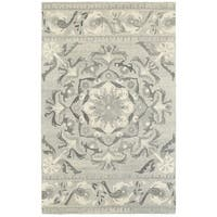 Style Haven Floret Medallion Ash/Ivory Wool Handcrafted Undyed Area Rug - 10' x 13'