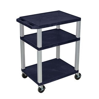 Offex OF-WT34ZE-N Blue Plastic 34-inch 3-shelf Electric A/V Cart with Nickel Leg