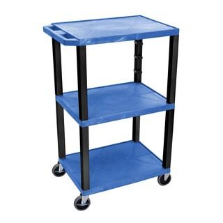 Offex OF-WT42BUE-B Electric Black Legs 3-shelf 42-inch A/V Cart