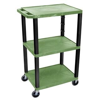 Offex OF-WT42GE-B Green Plastic 42-inch Three-shelf A/V Cart