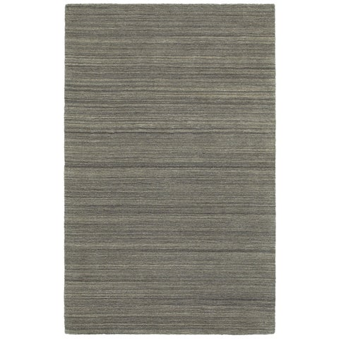 Style Haven Solid Distressed Charcoal Handcrafted Wool Area Rug (10' x 13') - 10' x 13'
