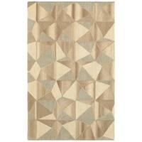 Style Haven Geo Textures Beige/Grey Wool Handcrafted Area Rug (10' x 13') - 10' x 13'