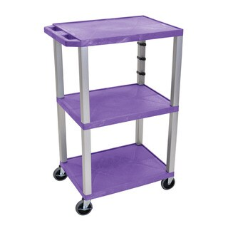 Offex Tuffy Purple Plastic 3-shelf 42-inch A/V Cart
