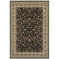 Style Haven Floral Traditions Black/Ivory Area Rug - 9'10 x 12'10