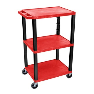 Offex OF-WT42RE-B Red Plastic 42-inch 3-shelf Electric A/V Cart with Black Legs