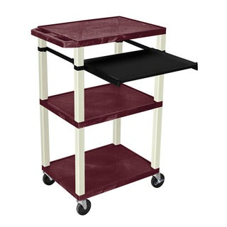 Offex Red Plastic 3-tier Presentation Cart