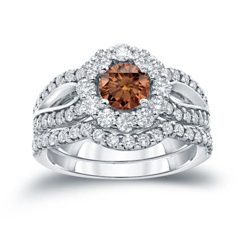 Auriya 2 1/3ctw Halo Brown Diamond Engagement Ring Set 14k Gold