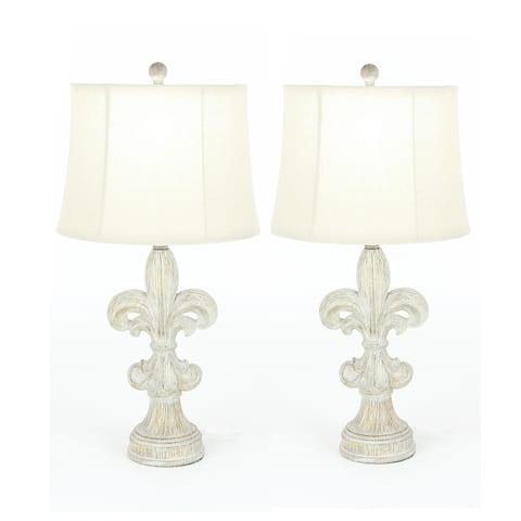 Fleur-De-Lis Heavily Distressed Vintage 28-inch Table Lamp (Set of 2)