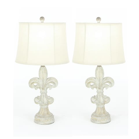 Fleur-De-Lis Heavily Distressed Vintage 28-inch Table Lamp (Set of 2)