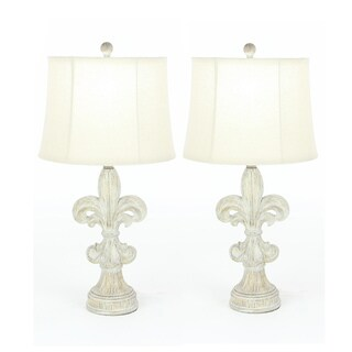 Urban Designs Fleur-De-Lis Heavily Distressed Vintage 28-inch Table Lamp (Set of 2)