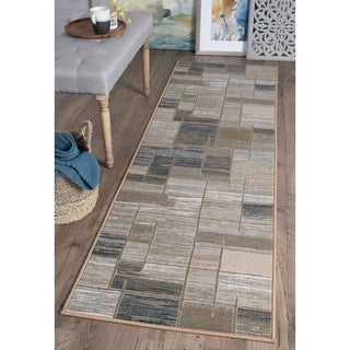 Alise Majolica Taupe Contemporary Runner Rug - 2'3 x 11'