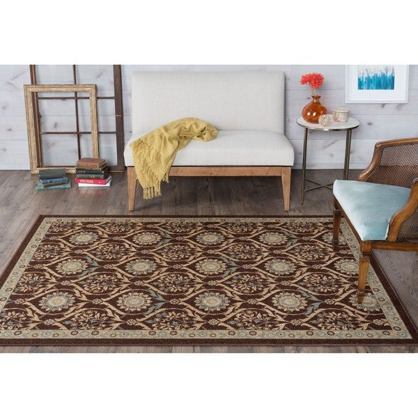 Alise Majolica Brown Floral Nylon Transitional Area Rug (7'6 x 9'10)