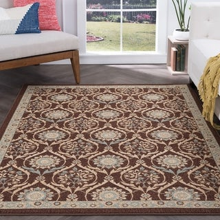 Tayse Rugs Alise Majolica Brown Floral Transitional Area Rug (7'6 x 9'10)