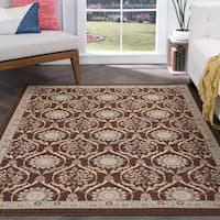 Alise Majolica Brown Floral Nylon Transitional Area Rug - 7'6 x 9'10