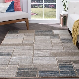 Alise Rugs Majolica Contemporary Taupe Area Rug (7'6x9'10)