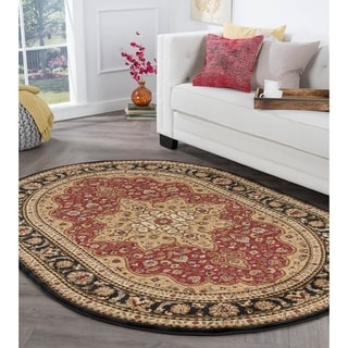 Alise Rugs Rhythm Oval-Shaped Traditional Area Rug (5'3 x 7'3)