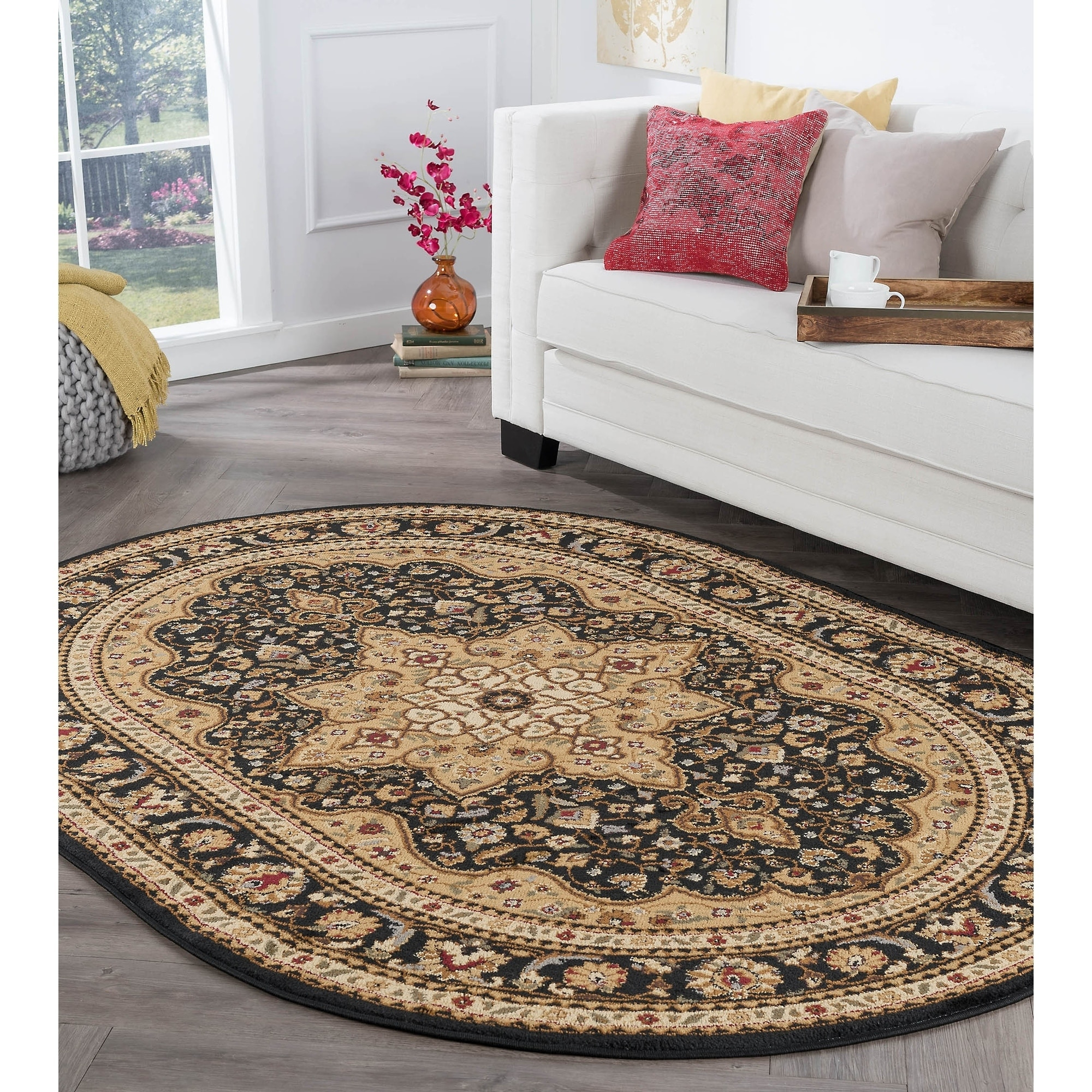Alise Rugs Rhythm Traditional Oriental Oval Area Rug 6 7 X 9 6 Ebay