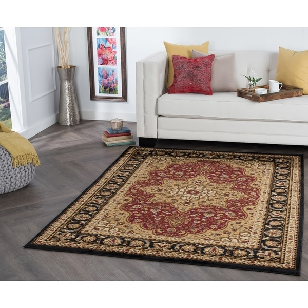 Alise Rugs Rhythm Red/Ivory/Black Area Rug - 9'3 x 12'6