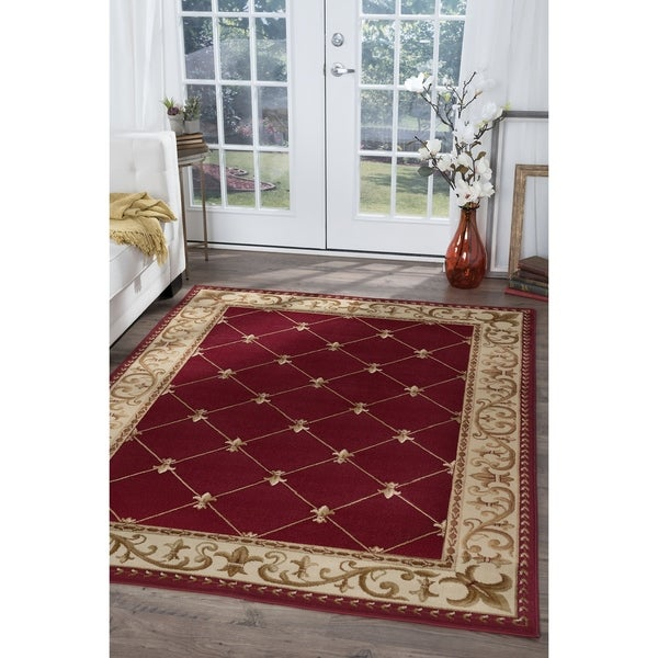 Alise Rugs Red and Ivory Area Rug - 10'6 x 14'6