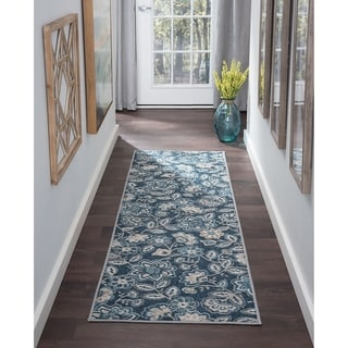 Alise Rugs Majolica Transitional Blue/ Off-white Area Rug (2'3 x 11')