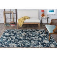 Alise Rugs Majolica Blue/Off-white Area Rug
