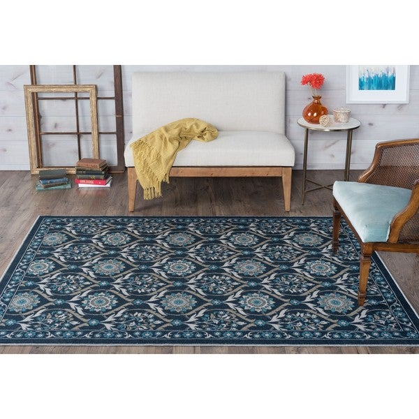 Alise Rugs Majolica Floral Pattern Transitional Area Rug (7'6'x9'10')