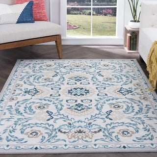 Alise Rugs Majolica Transitional Blue/Off-white Area Rug (7'6 x 9'10)