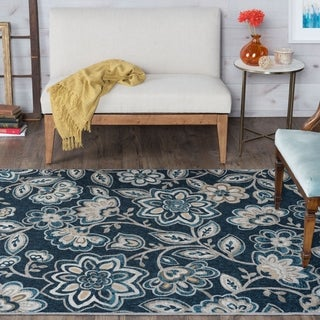 Alise Rugs Majolica Blue/Off-white Polypropylene Transitional Area Rug (7'6' x 9'10')
