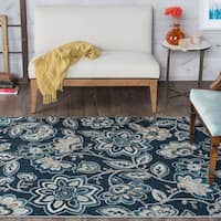 Alise Rugs Majolica Blue/Off-white Polypropylene Transitional Area Rug - 7'6 x 9'10